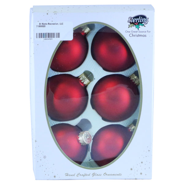 6 Pack Solid Red Matte Balls
