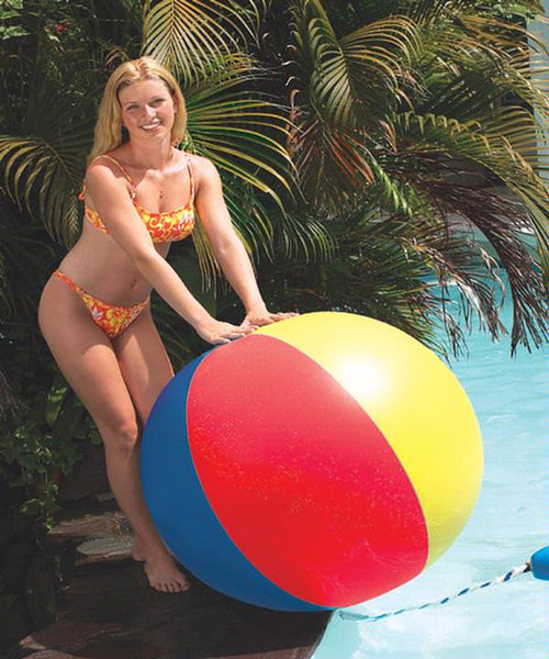 Woman with the Multi-Colored 6 Panel Beach Ball