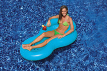 Woman on a blue Cool Chair Inflatable Lounge
