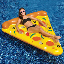 Young woman relaxing on a Pizza Pie Slice Float