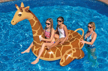 Kids on a Giant Ride-On Giraffe Float