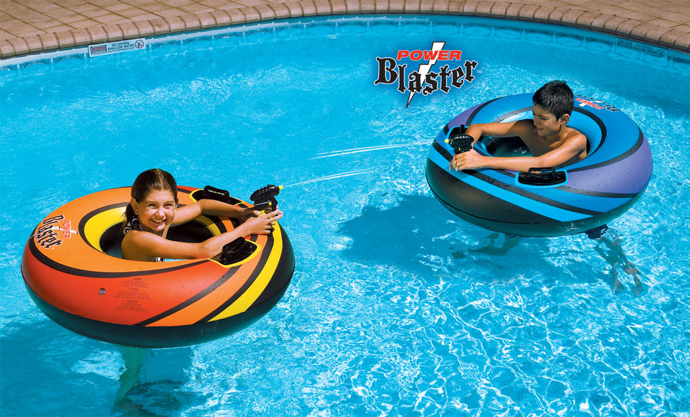 Two kids playing with their Power Blaster Squirter Ring Set