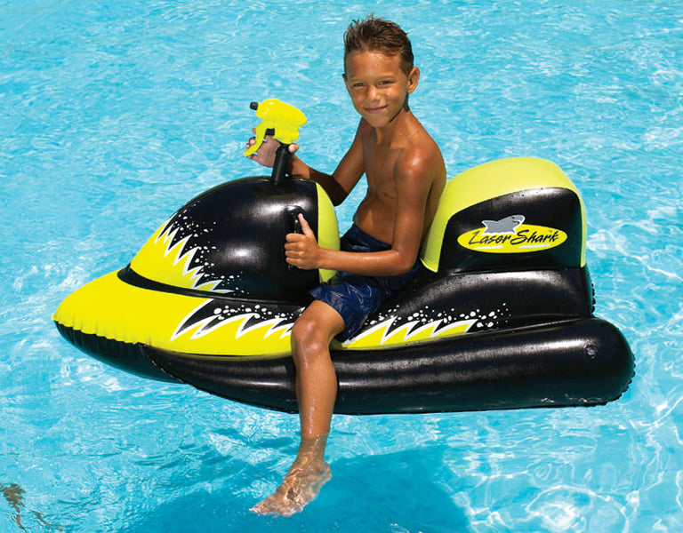 Young boy on the totally awesome Laser Shark Ride-On Jet Ski With Water Gun