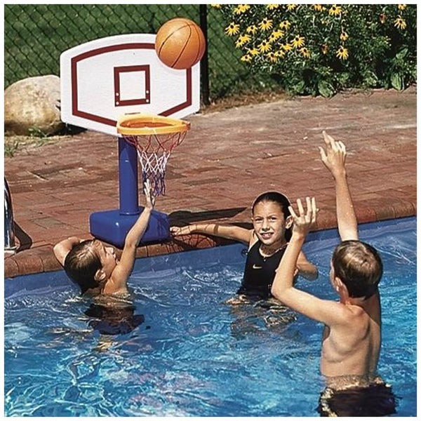 Kids playing with the Jammin' Inground Poolside Basketball Game