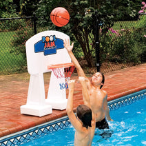 Boys playing with the Pool Jam Basketball Game