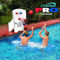 Two boys playing with the Cool Jam Pro Poolside Basketball Game