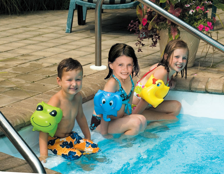 Kids wearing the Assorted Animal Fun Arm Band Floats