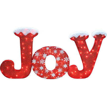 "Lighted Sparkly Fabric Red ""JOY"""