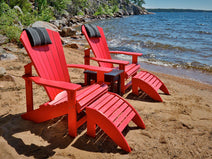 Classic Adirondack Chairs with Footstools