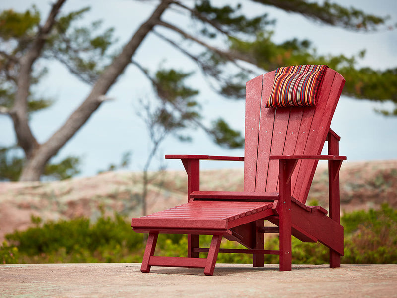 Upright Adirondack Chair with Pullout Footstool