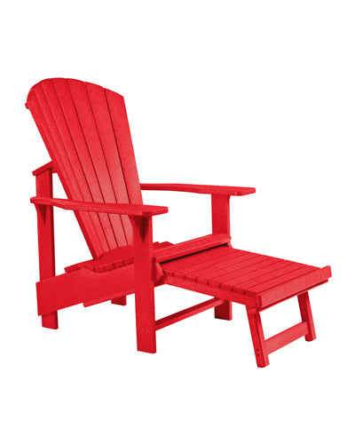 Upright Adirondack Chair with Pullout Footstool in Red