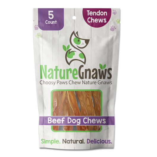 Front of bag, single bag of Beef Tendons Dog Chews (5 count)
