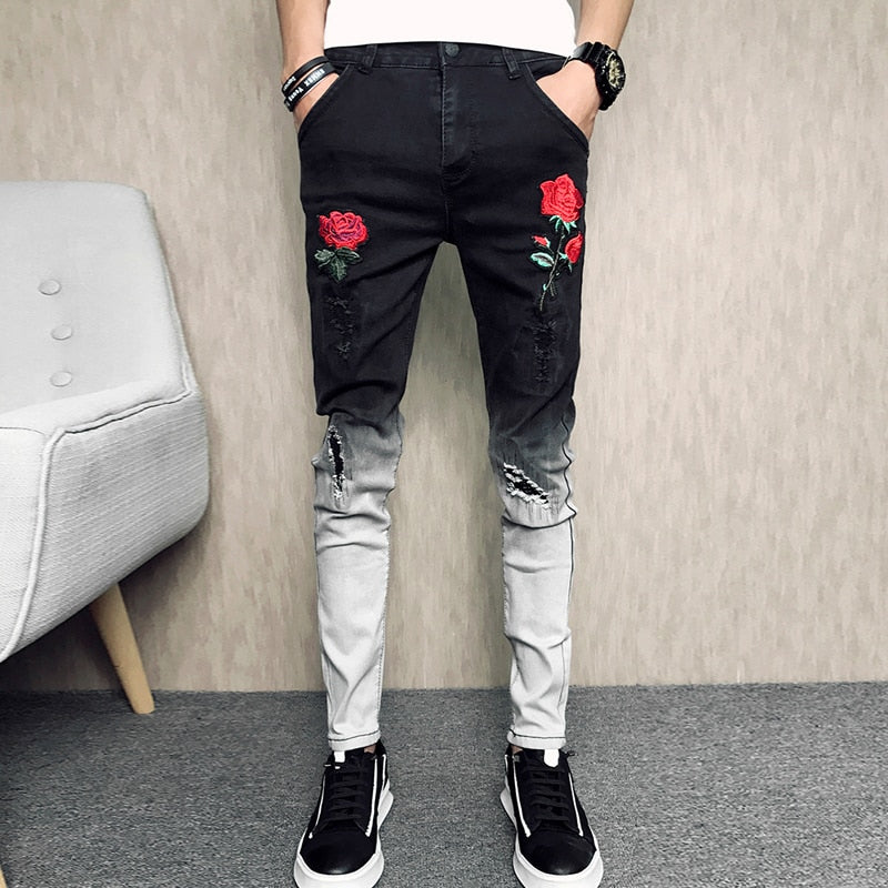 New Men Embroidery Jeans