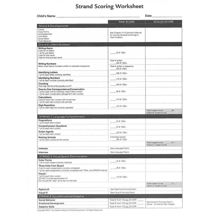 Strand Scoring Worksheet