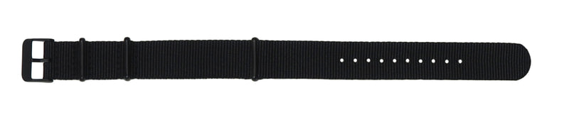 NATO band - Black nylon, Black hardware