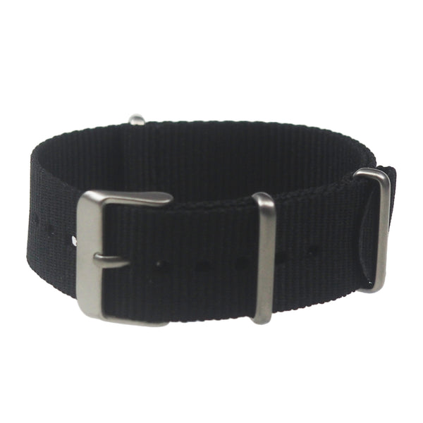 NATO band - Black nylon, Stainless hardware