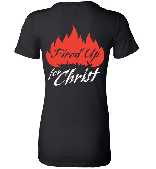 Jeremiah 20:9, Fired Up for Christ, Ladies Favorite Tee, S-2XL