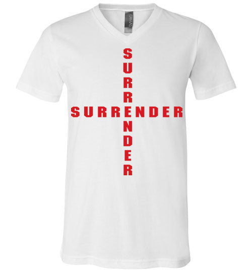 James 4:7, At The Cross, Surrender Unisex V-Neck, T-Shirt, S-3XL