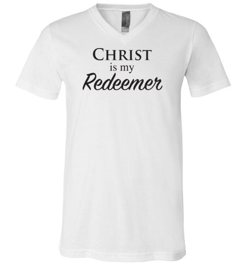 Isiah 47:4, Christ is My Redeemer, Unisex V-Neck, T-Shirt, S-3XL