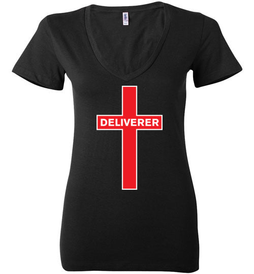 Isiah 53:5, At The Cross, Deliverer Ladies Deep V-Neck, S-2XL