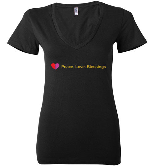James 3:18, Peacemakers, Ladies Deep V-Neck, S-2XL