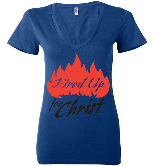 Jeremiah 20:9, Fired Up for Christ, Ladies Deep V-Neck, S-2XL