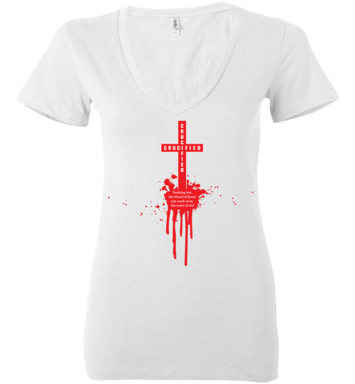 Isiah 53:5, At The Cross, Crucified Ladies Deep V-Neck, S-2XL
