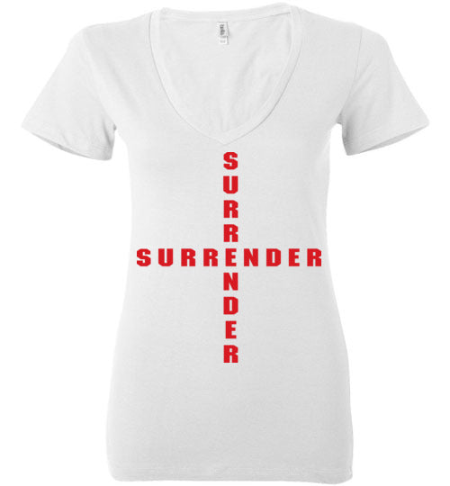 James 4:7, At The Cross, Surrender Ladies Deep V-Neck, S-2XL