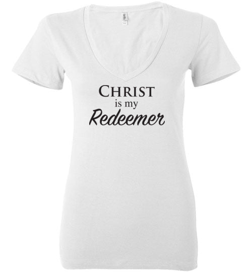 Isiah 47:4, Christ is My Redeemer, Ladies Deep V-Neck, S-2XL