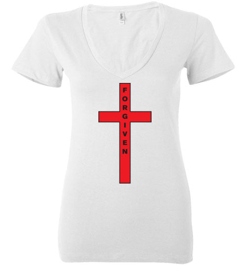 Isiah 53:5, At The Cross, Forgiven Ladies Deep V-Neck, S-2XL