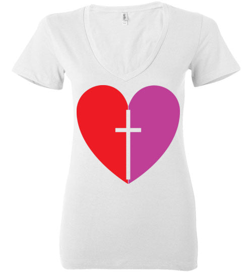 1 Corinthians 16:14, Love, Ladies Deep V-Neck, S-2XL