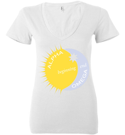 Revelation 22:13, Alpha, Omega, Beginning, End, Ladies Deep V-Neck, S-2XL