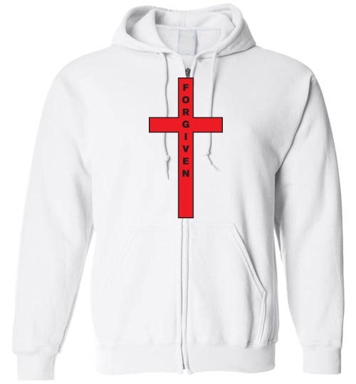 Isiah 53:5, At The Cross, Forgiven Zip Hoodie, S-YXL