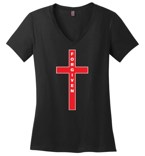 Isiah 53:5, At The Cross, Forgiven Ladies Perfect Weight V-Neck, XS-4XL