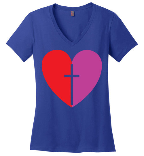 1 Corinthians 16:14, Love, Ladies Perfect Weight V-Neck, XS-4XL
