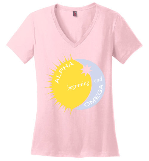 Revelation 22:13, Alpha, Omega, Beginning, End, Ladies Perfect Weight V-Neck, XS-4XL
