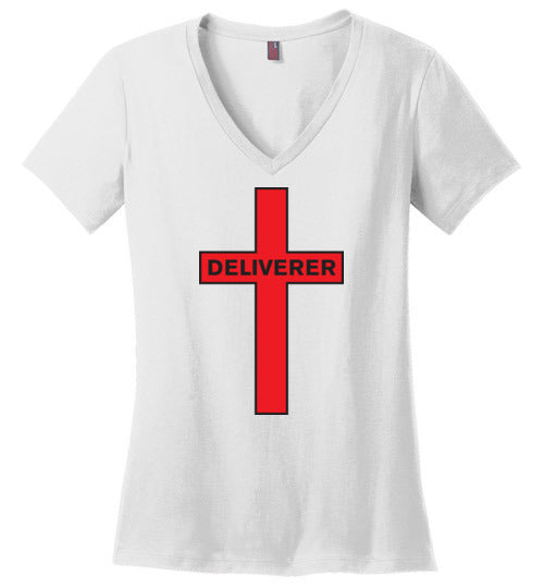 Isiah 53:5, At The Cross, Deliverer Ladies Perfect Weight V-Neck, XS-4XL