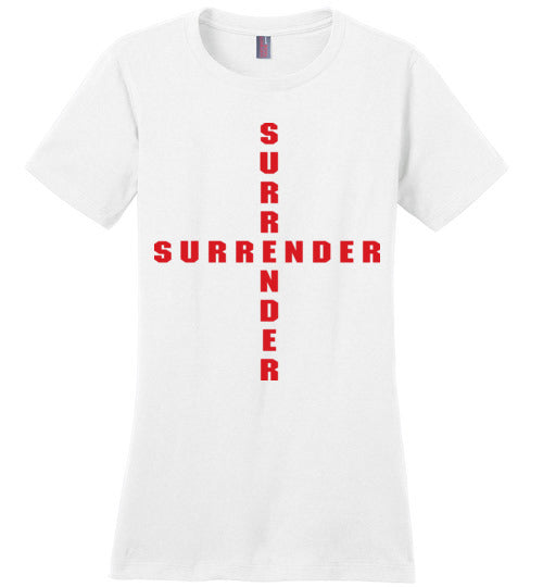 James 4:7, At The Cross, Surrender Ladies Perfect Weight Tee, XS-4XL