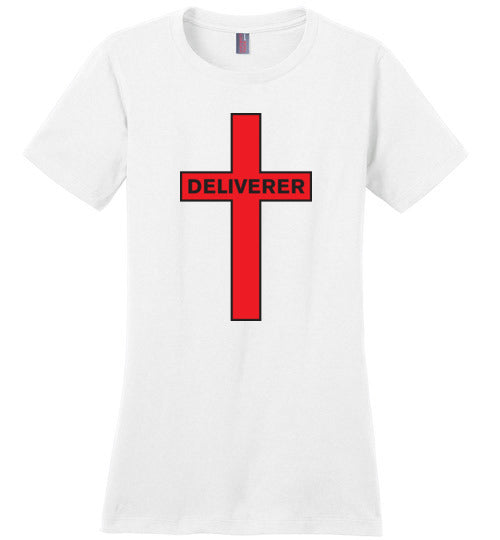 Isiah 53:5, At The Cross, Deliverer Ladies Perfect Weight Tee, XS-4XL