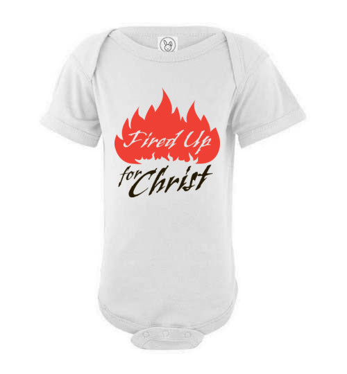 Proverbs 22:6, Train Up a Child, Fired Up for Christ Short-sleeve Onesie, NB-24M