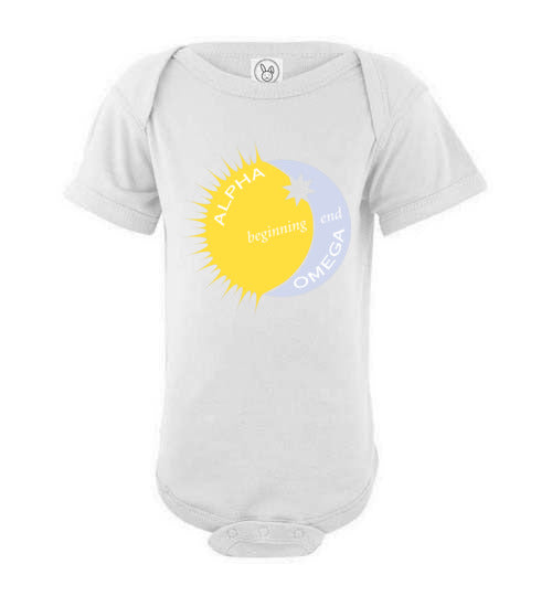 Proverbs 22:6, Train Up a Child Alpha, Omega, Beginning, End, Short-sleeve Onesie, NB-24M