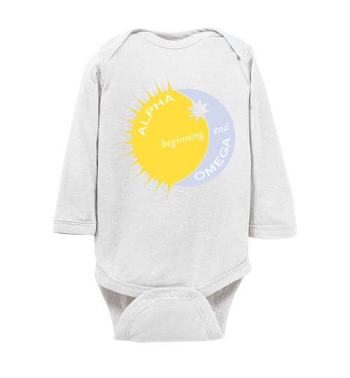 Proverbs 22:6, Train Up a Child Alpha, Omega, Beginning, End, Long-sleeve  Onesie, NB-24M