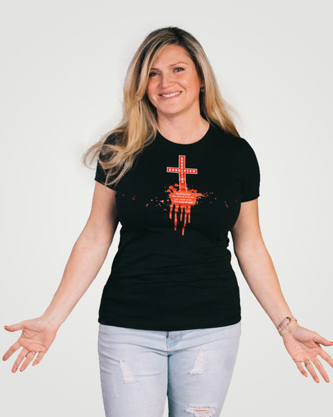 Isiah 53:5, At The Cross, Crucified Ladies Perfect Weight Tee, XS-4XL