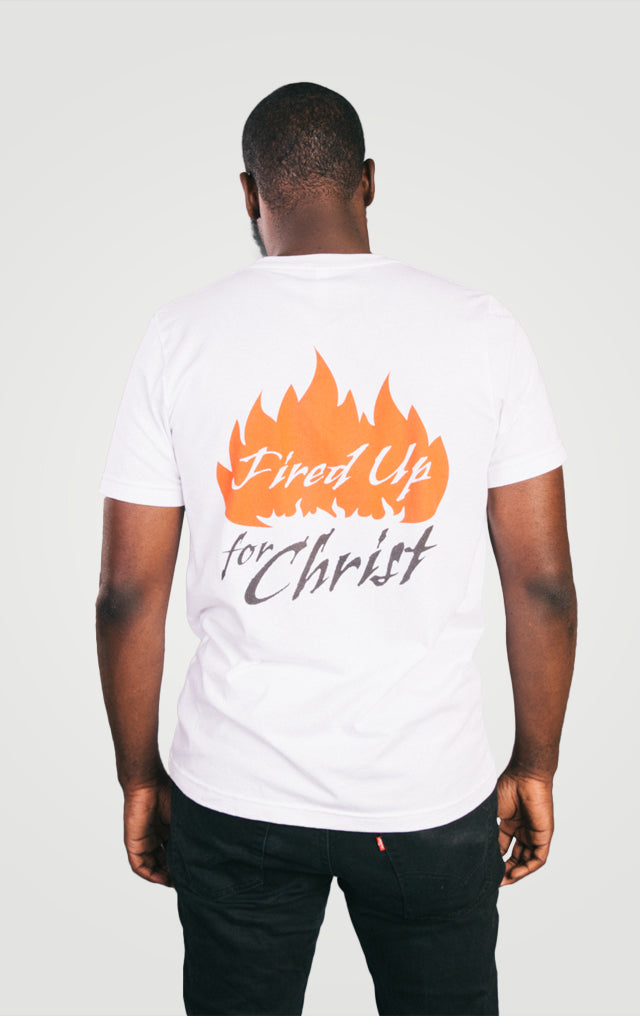 Jeremiah 20:9, Fired Up for Christ, Unisex V-Neck, T-Shirt, S-3XL