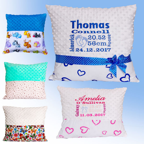 Pillows with baby birth certificate ireland