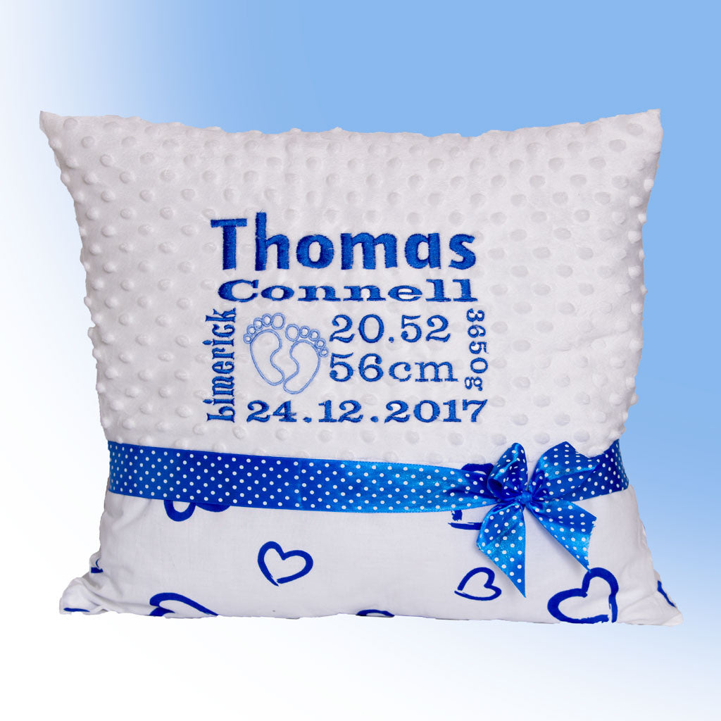 Personalised pillow for boy with birth certificate