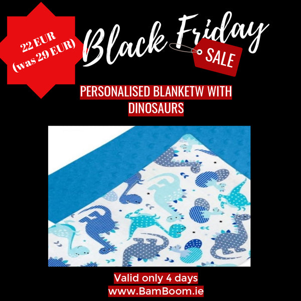 Blanket with Dinosaurs - BLACK FRIDAY SALE