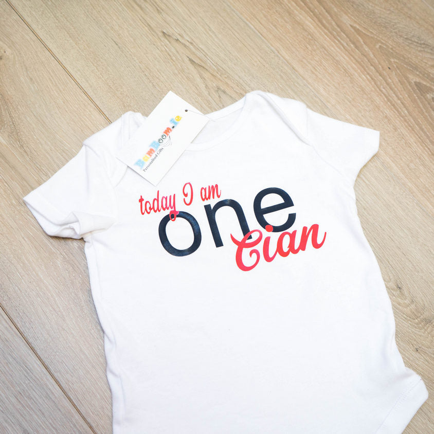 Personalised 1st Birthday Baby Grow or vest