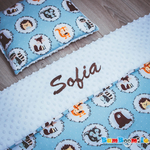 Personalised blanket with woodlands animals