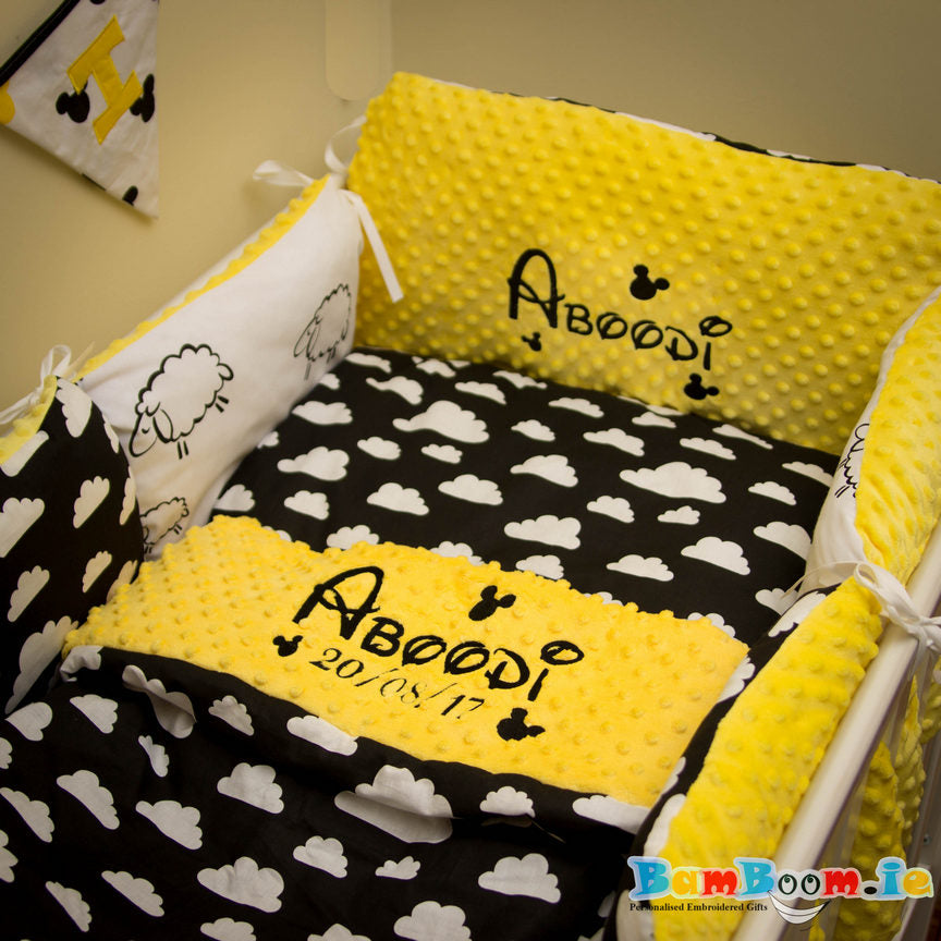personlised cot set with clounds